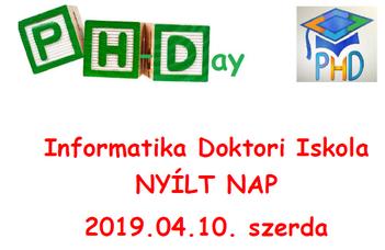 PhDAY-Informatika Doktori Iskola nyílt napja április 10-én